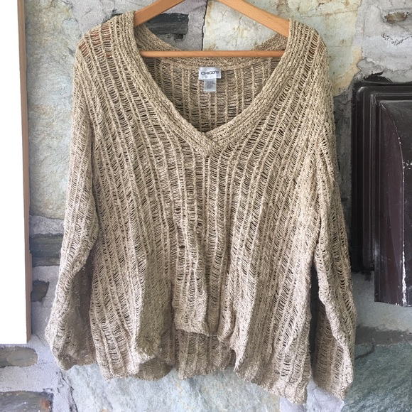 Chicos Gold Loose Knit V-Neck Sweater, Sz 1
